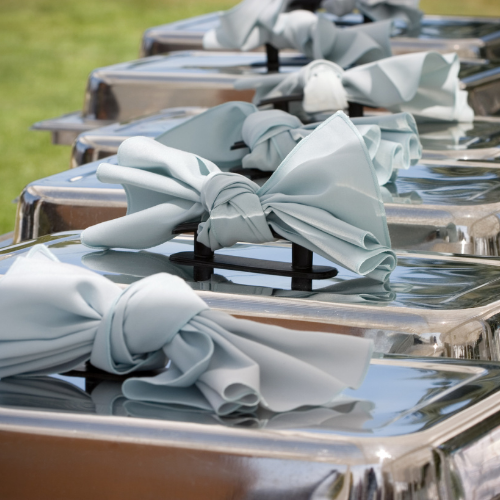 silver buffet server in a line on a table